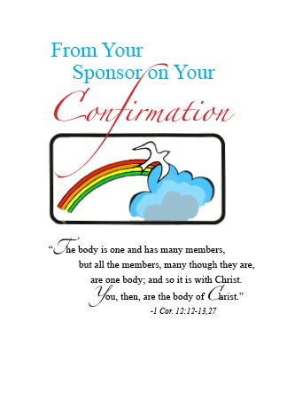 SP423 FROM YOUR SPONSOR ON YOUR CONFIRMATION