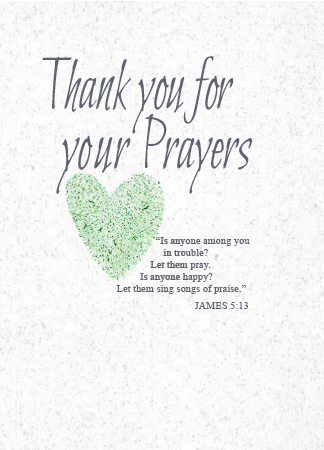 TY110 THANK YOU FOR YOUR PRAYERS