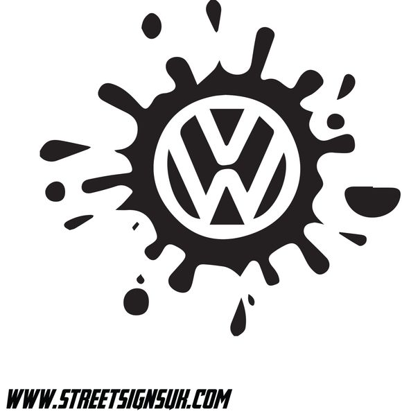 volkswagen paint splat cut self adhesive vinyl logo comes in various sizes  colours