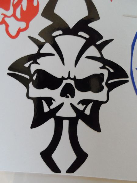 skull with tribal design self adhesive vinyl decal/sticker for motorbike or  scooter
