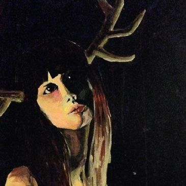 Woman doe deer headlights painting eyes dark night lighting antlers acrylic nature