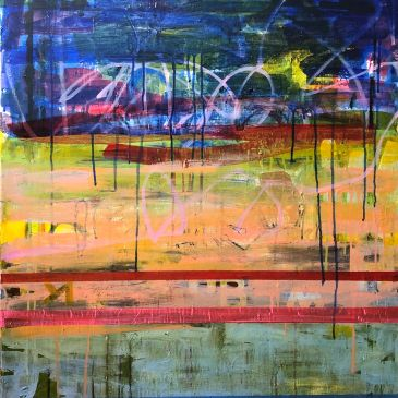 abstract landscape graffiti city colorful paint acrylic drippy rainbow blue pink stripes intuitive