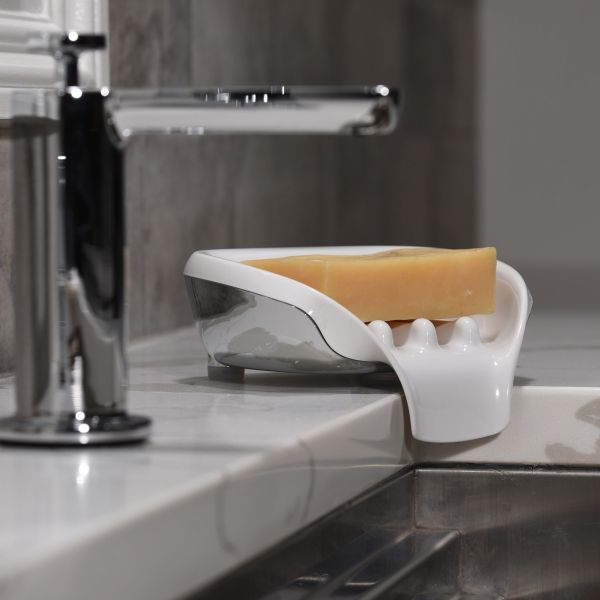 """Soapseat Chrome/White """"Finally the Perfect Soap Dish"""""""