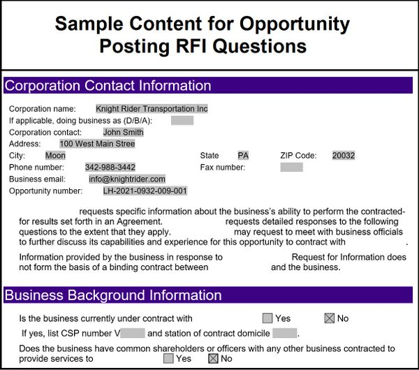 FedEx Ground Request for Information | Sample Content