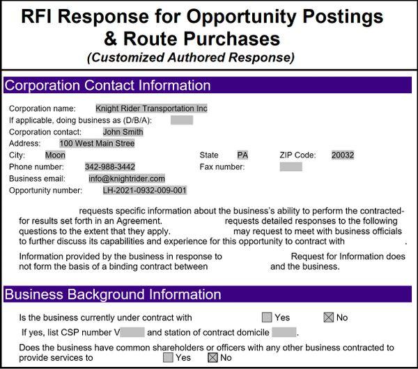 FedEx Ground Request for Information | Custom Written