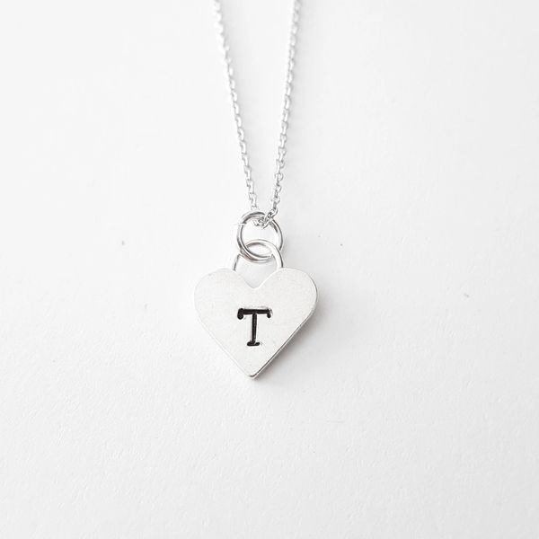 Sterling Silver Heart Letter T Initial Necklace