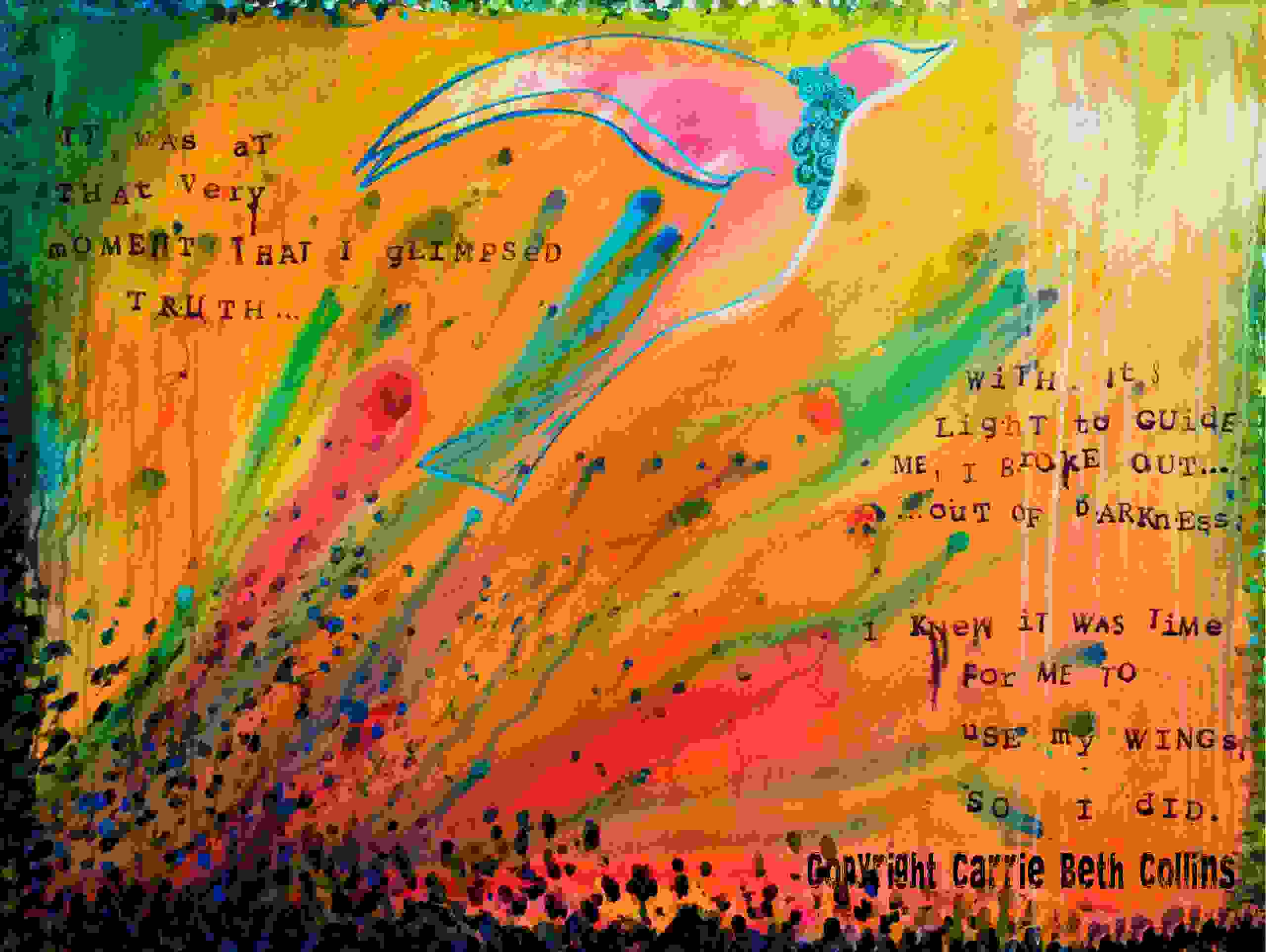 Journal writing, bird, flying, colorful, contemporary art, Carrie Beth Collins, artist