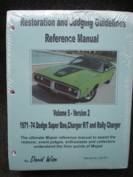 Restoration and Judging Guidelines Dodge 1971-74 (JMBD-5) TEMP. OUT OF STOCK