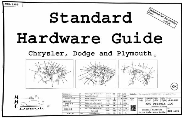 Standard Hardware Guide for Chrysler, Dodge and Plymouth (SHG-1985)