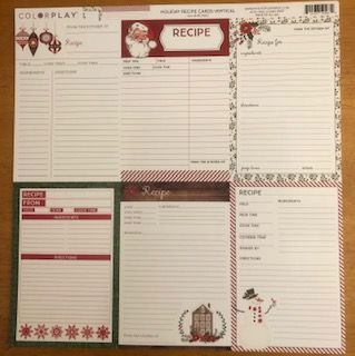 Holiday Recipe Cards - VERTICAL - (4) 12 x 12 Sheets