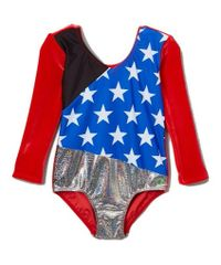 1984 USA WIN VELVET 3/4 SLEEVE LEOTARD WITH BLACK DETAILING