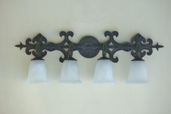 5544 4 Spanish Style Wrought Iron Bathroom Vanity Light Spanish Revival Lighting