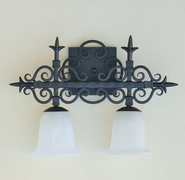 5578 2 Spanish Revival Wrought Iron Bathroom Vanity Light Spanish Revival Lighting