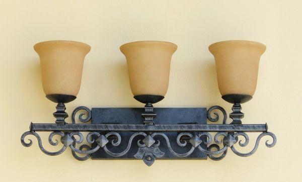 5655 3 Mediterranean Style Wrought Iron Bathroom Vanity Bar Light Spanish Revival Lighting