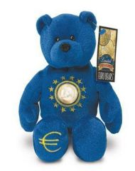 EURO COIN BEAR - BLUE BEAR Collectible Plush One Euro Coin Bear