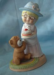 FIGURINE - 1983 Ceramic Lady with Birthday Cake CHERISHED MEMORIES Figurine