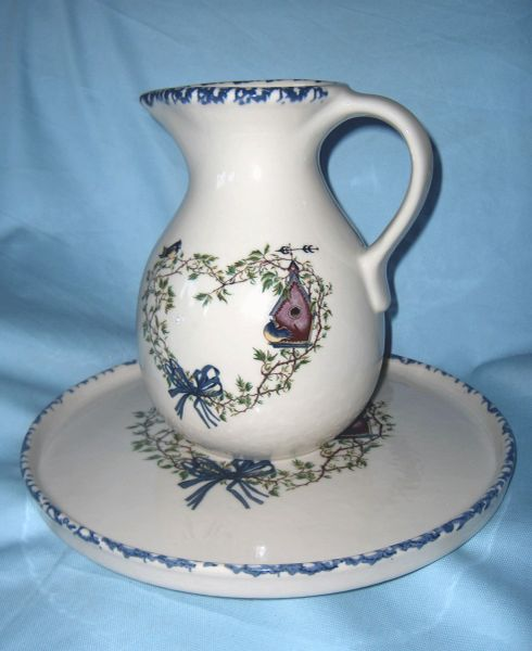 PITCHER and Decorative PLATE SET Stoneware Bird House Design