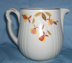 PITCHER - Vintage Rayed Utility Jug, JEWEL TEA Autumn Leaf