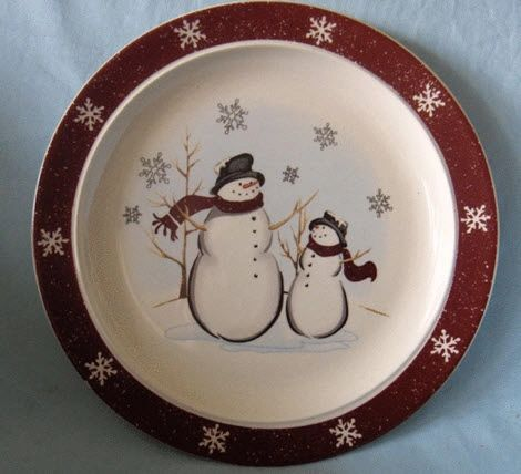PLATES - Set of 4 Bread & Butter Plates Holiday Snowmen Royal Seasons RN-1