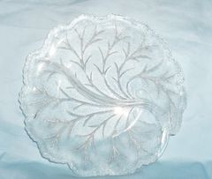 RELISH DISH - Press Glass Decorataive Relish Plate Indiana Glass Pebble Leaf