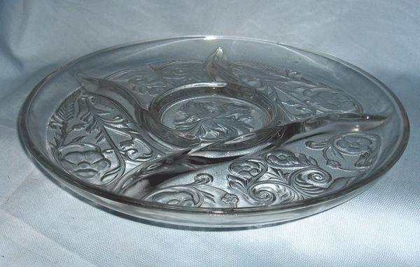 RELISH PLATE - Vintage Rock Crystal Appetizer Plate McKee DEPRESSION GLASS