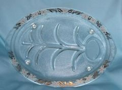 "SERVING PLATTER - Vintage 15"" Glass Turkey Platter Inland Glass Footed Serving Platter"