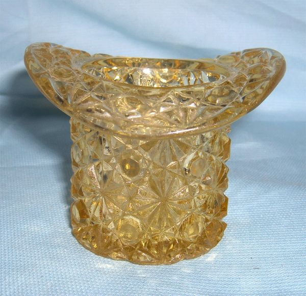 TOOTHPICK HOLDER - EAPG US Glass Top Hat Amber Color Tooth pick holder