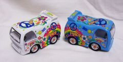 "ACTION TOYS - Set of (2) Diecast Dream ""Peace"" Cars/ Vans Pull Back Action"