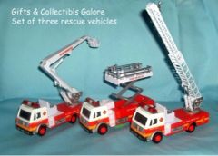 ACTION TOYS: Set of (3) Diecast Metal & Plastic Fire Station Trucks Sounds & Pull Back Action