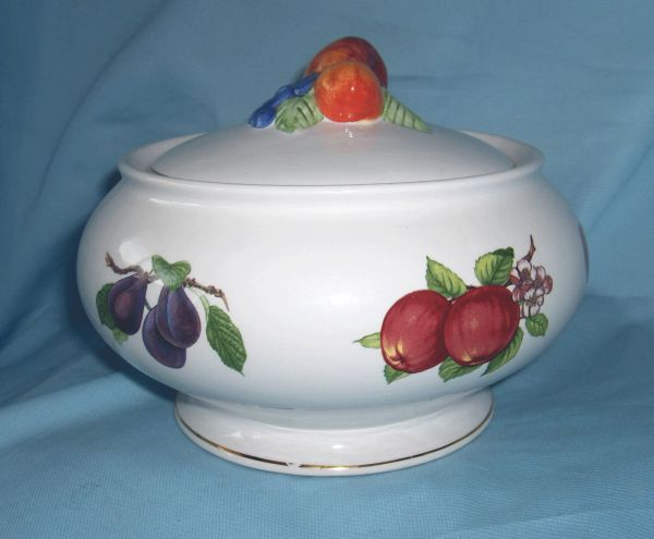 "BOWL & LID - Ceramic Footed Bowl & Lid Fruit Design Gold Trim 6"" Tall Teleflora"