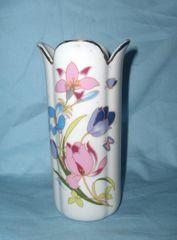 VASE: Vintage Decortive Art Vase Scallop Rim Tulips & Butterflies