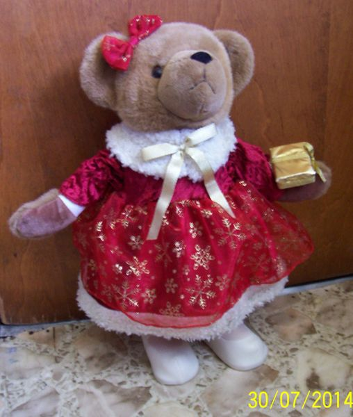 "STUFFED BROWN BEAR -COLLECTIBLE Holiday Christmas 20"" Standing PLUSH BEAR Sun Point"