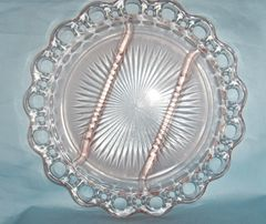 "Depression Glass Relish Plate Pink Open Lace, Old Colony, Lace Edge 3-Sectional Plate 10 1/4"" Dia."