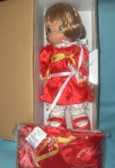 COLLECTIBLE DOLLS: 2008-Precious Moments Christmas Holiday Stocking Doll in Decorative Red Outfit