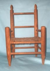 "DOLL ACCESSORIES: Vintage 13"" High Back Wooden Chair for doll with a straw-like weave seat"
