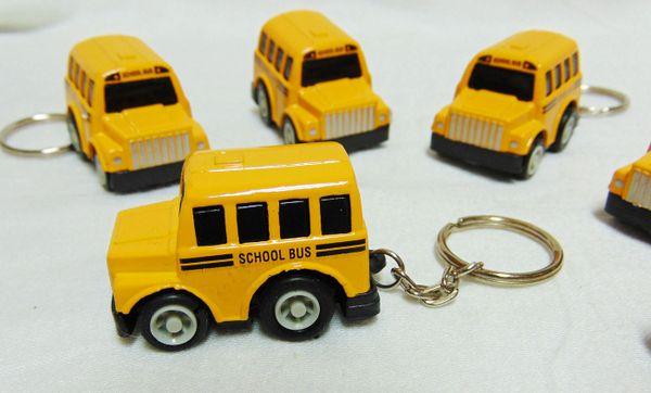 Diecast School Bus Keychains: Set of (5) Mini Modern Yellow School Bus Key Chains