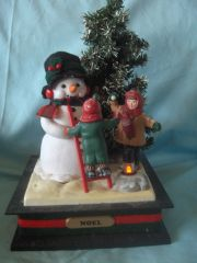 MUSIC BOXES: Musical Large Snowman in a Holiday Scene 1993 Holiday Creations