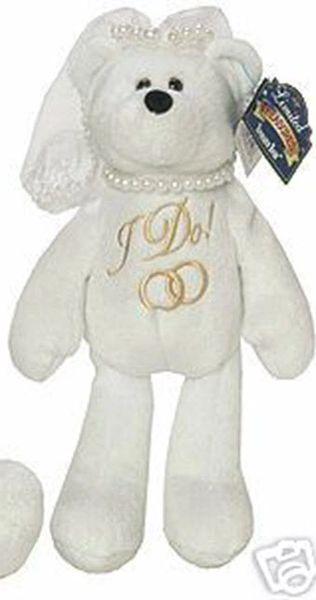 "LIMITED TREASURE BEAR - Plush Collectible 9"" Wedding Bride Teddybear - I DO"
