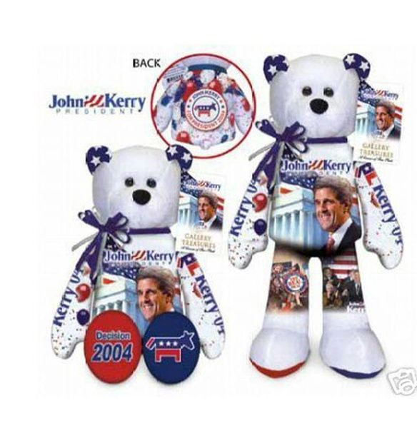 "JOHN F. KERRY - Plush Collectible 9"" Patriotic Teddy Bear - Limited Treasures"
