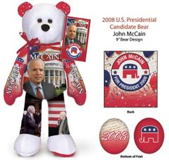 "JOHN MCCAIN - Plush Collectible 9"" Patriotic Teddy Bear - Limited Treasures"