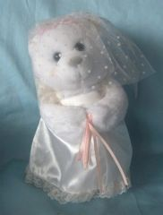 "MUSIC BOXES: 8 1/2"" Wedding Bride Musical Bear by Russ - Plays The Wedding March"