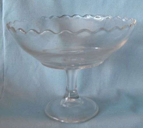 """DECORATIVE BOWL: Vintage Pedestal Round Clear Glass Bowl Scalloped Edges 5 1/4"""" tall"""