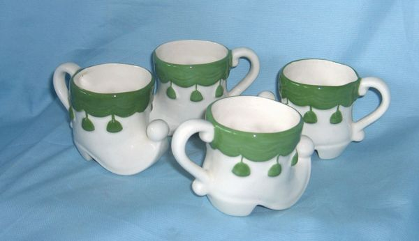 SHOT GLASSES/ CUPS: Set (8) Cute Miniature Irish Porcelain Cups, Mugs Green Trim