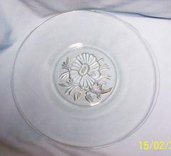 "SANDWICH PLATE - Vintage Jeannette Clear Glass 12"" Dia. Sandwich Plate - Camillia"