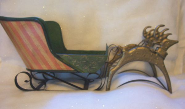 "Christmas Centerpiece - Vintage 23"" long Wooden Sled with Pair Gold Color Metal Reindeers"