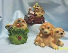 COLLECTIBLE ANIMAL FIGURINE - Set of (3) Collectible Playful Puppy Figurines