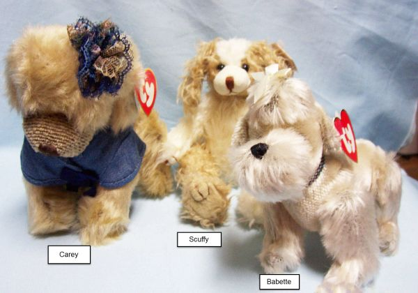BEANIE BABIES: Ty Attic Treasures Babies Collectible Bean Plush Dogs; Babette, Carey, Scruffy
