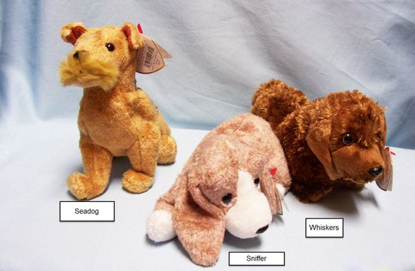 BEANIE BABIES: Ty Beanie Babies Collectible Bean Plush Dogs; Seadog, Sniffer, Whiskers