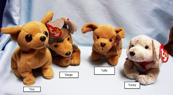 BEANIE BABIES: Ty Beanie Babies Collectible Bean Plush Dogs; Sarge, Tiny, Tricks, Tuffy