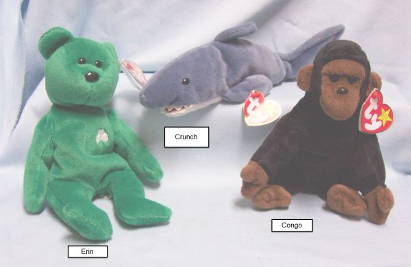 BEANIE BABIES: Ty Beanie Babies Collectible Cuddly Plush Animals; Congo, Crunch, Erin